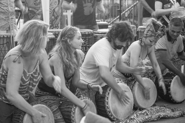 Drum circle in black and white