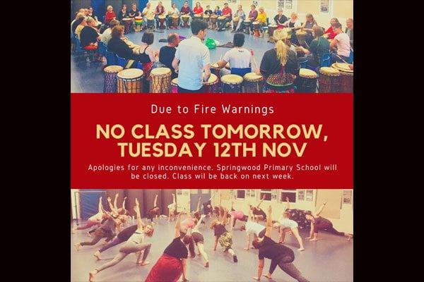 No Class Tuesday 12th Nov